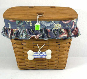 1992 Longaberger Mail Basket With Liner, Protector