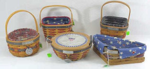 Five Longaberger Inaugural Baskets- 1993, 1997,