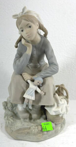 Lladro Figurine Of Girl Sitting With Doll And