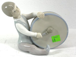 Lladro Figurine Boy Sitting Playing The Drum