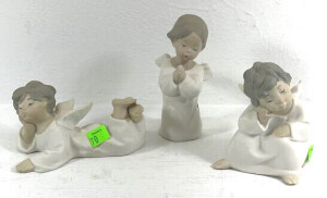 Set Of 3 Lladro Angels- Angel Siting Resting Face