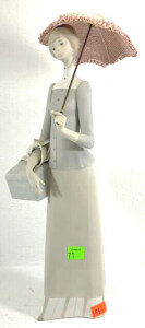 "Lladro Figurine Lady With Parasol Approx. 14"" Tall"