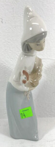Lladro Figurine Girl With Rooster