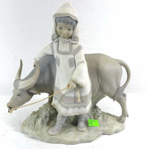 Lladro Figurine Girl With Oxen