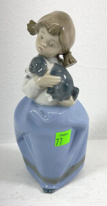 N A O Figurine Girl In Pig Tails With Puppy Dog