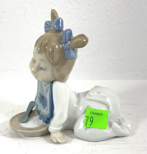 N A O Figurine Toddler Girl Kneeling With Plate