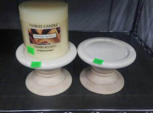 "2 Yankee Candle 4"" Candle Holders W/ 1 French"