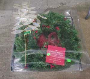 "24"" Holiday Wreath W/ Yule Tidings"