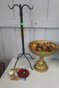 Metal Stand, Decor Bowl W/ Potpourri, Stones,