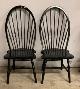Two Black Dining Spindle Chairs