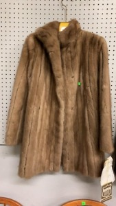 Burdines Fur Coat Ribbed Autumn Haze