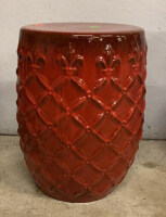 "Ceramic Red And Black Plant Holder 19"" Tall"
