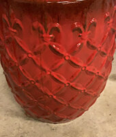 "Ceramic Red And Black Plant Holder 19"" Tall - 4"