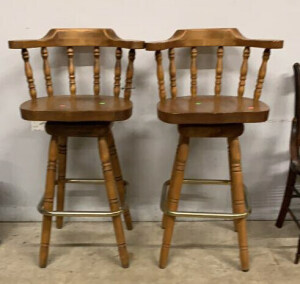 "Two Bar Chairs 30"" Seat, Spindle Backs"