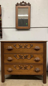3 Drawer Walnut Dresser W Mirror Carved Acorn