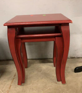 Red Nesting Wooden Tables 15x13.5x19