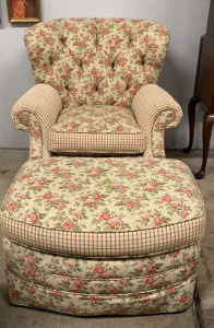 Chair And Footstool Rose And Plaid Design