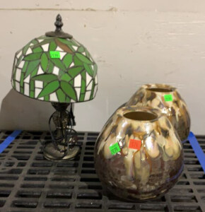 Two Vases And Small Table Lamp