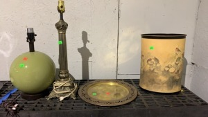 Two Lamps, Brass Serving Trey
