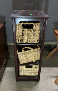 Wood Frame 3 Wicker Basket Organizer 16x22x28