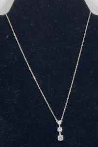 Necklace Marked 925 With 3 C Z Stones And