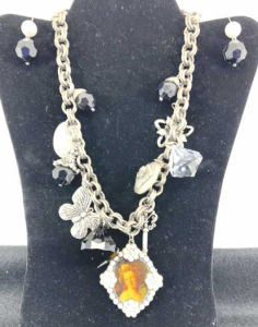 Chunky Necklace With Earrings - Silver In Color