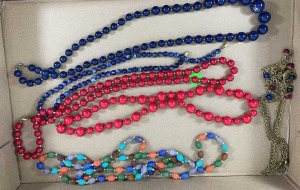Six Miscellaneous Necklaces- Blue, Red And Multi-