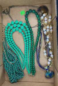 Six Miscellaneous Necklaces - 3 Green Beaded, And