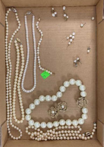 Flat Of Pearl Looking Necklaces, Earrings & A