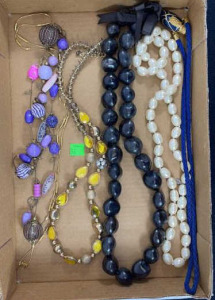 Six Miscellaneous Necklaces - Black Beads, White