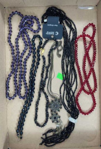 Six Miscellaneous Necklaces - Black, Red And
