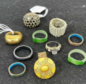 10 Costume Rings- 1 Marked Akkad Thailand, 1