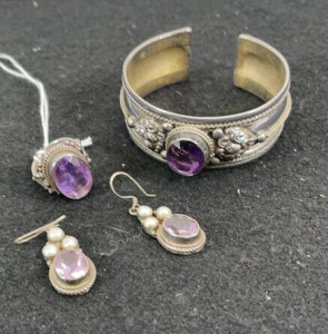 Matching Set With Bracelet, Earrings And Ring