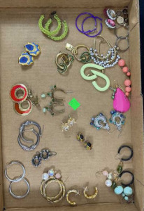 Flat Of Earrings- Approx. 24 Pairs