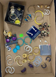 Flat Of Earrings- Approx. 21 Pairs And A Box Of