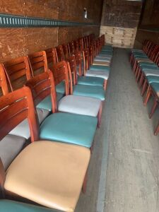 One Lot of Surplus Restaurant Chairs, and Table Bases  58 Chairs, and 4 Table Bases NO TOPS