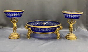 3 Pc Blue Cut To Clear Ormolu Mounted