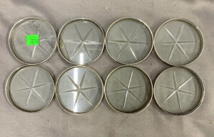 8 Sterling Clear Glass Coasters; 2 Are Cracked