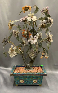 "Mineral Tree In Cloisonne Planter 24"" Tall"