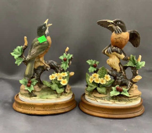 "Pair Of Andrea Robin Figurines On Bases 10"" Tall"