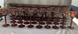 10 + 4 Ruby Etched To Clear Goblets; Plus 22