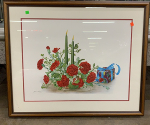 Framed Pencil Signed Picture 34x28