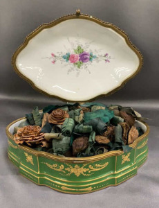 "French Hand Painted Porcelain Box W/ Potpourri 9""w"