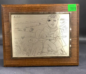 "Picasso Etched On Metal "" The Hunter"""