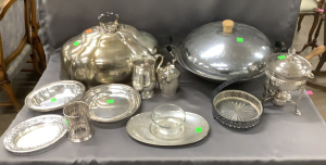 Silverplate Dome; Dented, Silverplate Sauce Warmer