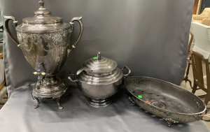 Silverplate Drink Dispenser, Tureen, Oval Serving