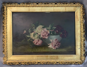 Oil On Board Still Life Bowl Of Roses Signed H