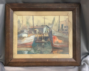 Water Color Wharf/dock Signed Illegible 20.5x24.5