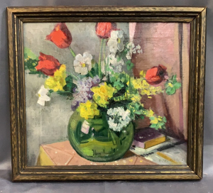 Oil On Canvas Floral C M Ogren Been Cleaned F C