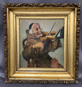 Oil On Linen Monk With Violin Old Repair Visible